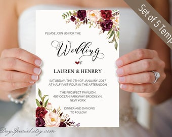Set of 5 Burgundy Floral Wedding Invitation Templates, Printable Wedding Invites Suit, Rustic Boho, Winter Wedding Invite Set DIY PDF #101