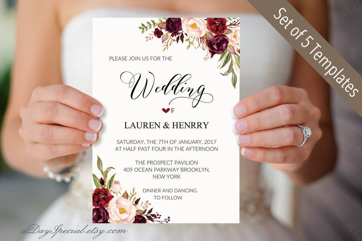Set of 5 Burgundy Floral Wedding Invitation Templates, Printable ...