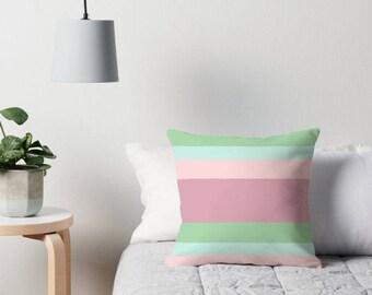 Pink Green and Blue Pillow, Neutral Pillows, Blush Pink Pillow, Neutral Pillow Covers, Blush Pink Pillow, Light Pink Pillow, Neutral Decor