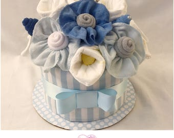 Blue Baby Shower Centerpiece  - New Baby Gift Bouquet Diaper Cake for Boy