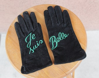 SALE! Je suis Belle Suede Leather Winter Gloves - Embroidered Leather Gloves