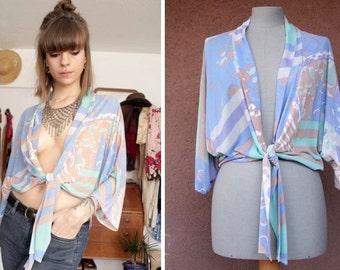1970's Kimono Blouse - 70's Wrap Around Blouse - Size Xs to M #614