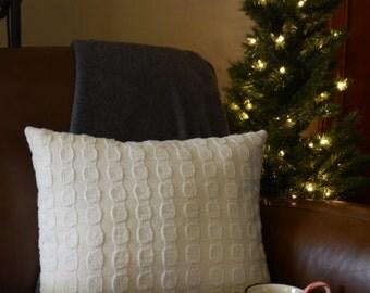 Winter White Dot-Stripe Sweater Pillow