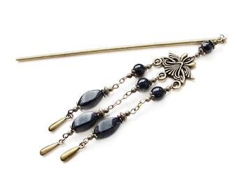 Metal hair stick with blue goldstone stellaria, hairpiece chained hairpin hair chopstick black hair ornament festival hair decoration