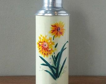 Sunflower thermos, thermos, Retro vintage kitchen decor, granny chic, boho, camping, retro coffee tea, shabby chic