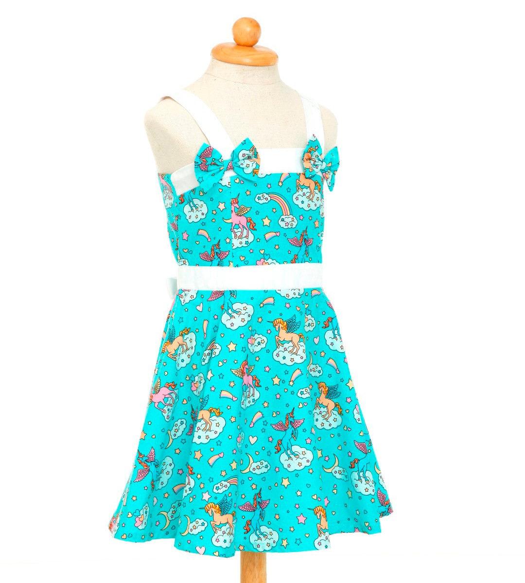 Teal Unicorn Dress Girls Dress Birthday Dress Party Dress
