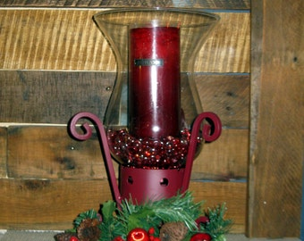 Glass candle holder with Hand painted metal base and red candle. Christmas Decor holiday decortions