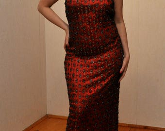 New Hand Made Red Indian Evening Dress With Beads & Sequins Size XXL /EU 44