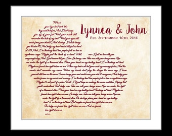 Wedding gift song lyrics, personalized wedding gifts for couple, custom artwork, song lyrics print unique wedding vow art heart love him her