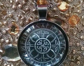 3D Black Gunmetal Shamanic VIKING Power Symbol CROSS PENDANT In Rune Circle,  With Chain and Gift Box