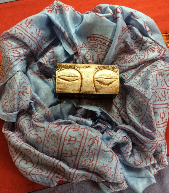 White Eye Hand Carved Wooden Trinket Boxs, Jewellery Box, Om Mantra Buddhist