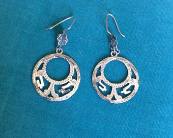 Vintage Mexican Sterling Silver Hoop Earrings Guadalajara