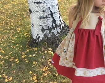 easter boho apron hippie tie girls twirl dress rainbow colorful bird knot strap birthday special occasion red khaki linen straps keepsake