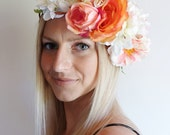 Bambie Flower Crown - Orange and White Floral Headpiece