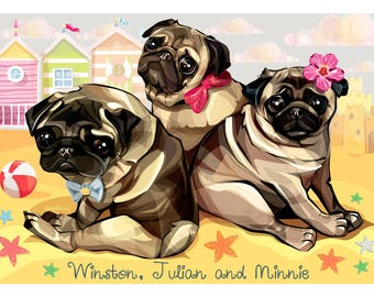 Custom Dog Portrait, Custom Pet Digital Illustration, Gift for Dog Lover, Cartoon Dog Portrait, Dog Drawing, Pet Art,Custom Pet Print Poster