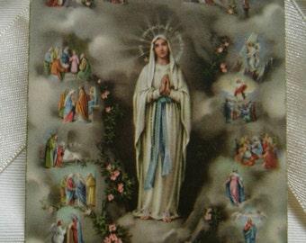 Vintage paper.Vintage religious card.Catholic.Virgin.Lourdes.Virgen de Lourdes.1950s.Jesus.Saint.Centenary.Holy card.Blessed.Pink.Gris.Roses