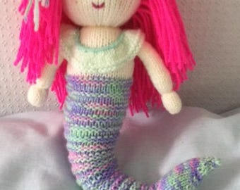 Hand knitted mermaid doll