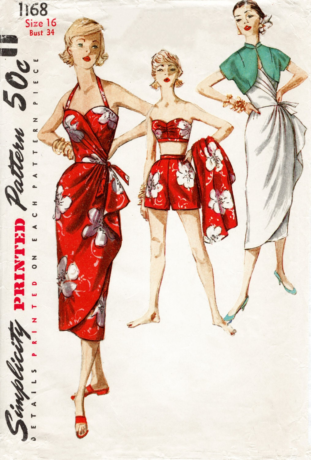 1950s 1960s Vintage Sarong Dress Sewing Pattern Reproduction