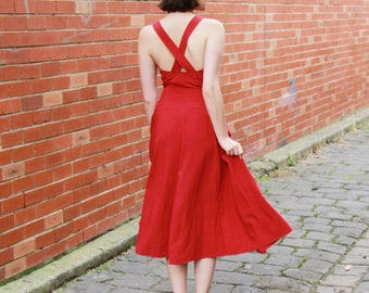 Vintage Red Linen Dress / Fascino / Made in Italy / Red Dress / Button Front / Cross Strap Back / XS/S