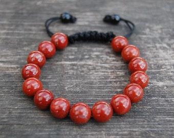 Red Jasper Bracelet,Gemstone 10mm Beads,Shamballa Bracelet,Jasper Bracelet,Yoga,Meditation Bracelet Fit All, Gemstone ,Man,Women,Gift