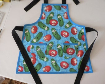 Boys Veggie Tales Apron Bob and Larry Apron Birthday Gift for Boys