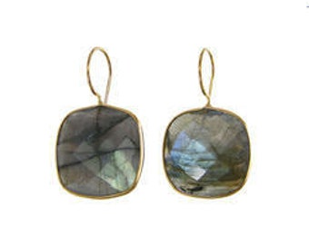 Labradorite Earrings, Cushion Setting, Gemstone Earrings,