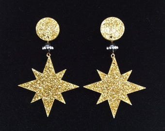 Stardust - Big, Confetti Lucite Style, Mid-Century Modern, Atomic Starburst Earrings in Black and Gold. Posts, Plugs or Clip-On