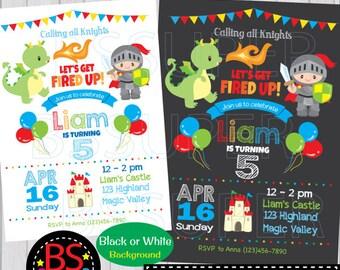 Dragon Invitations, Dragon Birthday Invitations, Knights and Dragon Birthday Invites, Knight Invitations