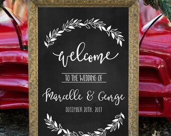 Printable Wedding Welcome Sign, Chalkboard Wedding Welcome Sign, Rustic Welcome Sign, Wedding Sign, Wedding Poster Board