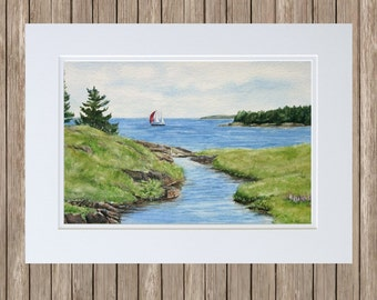 Sailing Near Prospect Harbor - Original Watercolor Painting to Frame - Maine Seascape Art