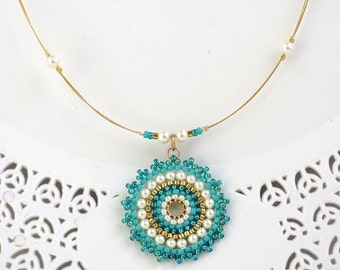 Turquoise pendant necklace, Turquoise and gold necklace, Seed bead necklace, Mandala necklace, Turquoise bead necklace, Gift ideas for women