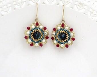 Blue dangle earrings, Gifts for mom, Blue crystal earrings, Dark blue earrings, Pearl and crystal earrings, Pearl bridesmaid earrings