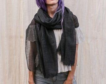 Dark Grey Silk Wool Scarf, Long Scarf Shawl Wrap, Silk Scarf, Wool Scarf, Super Soft And Lightweight,Unique Scarf Gift For Her