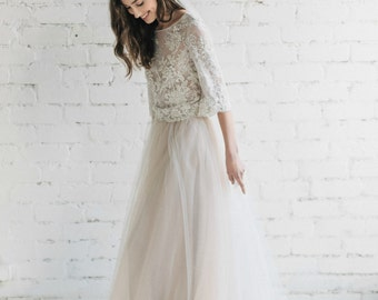 Bohemian Wedding Dress , Two Piece Wedding Dress, Ivory Nude Lace Dress ,Bridal Separates ,Open Back Wedding Dress , Bohemian Bride - PEONY