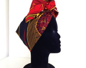 Turbaned African Wax Print Black