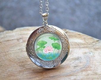 Lotus Necklace, Pink Lotus Locket Necklace, Water Lily Photo Locket, Lotus Plants Picture Jewelry