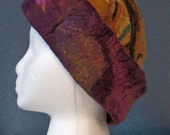 Boho Chic, felted hat,millinery, unique, handmade, purple, gold, women's gift,wearable art,