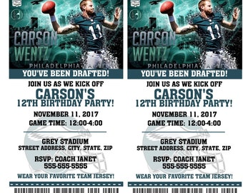 Printable Birthday Party Invitation Card Philadelphia Eagles Birthday Ticket Invitation Football Weddings Baby Showers Bar Mitzvahs