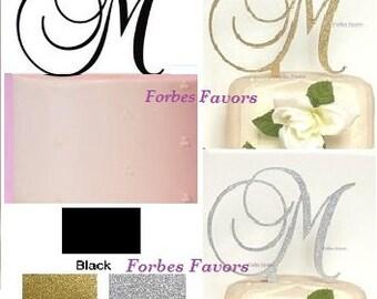 Monogram Letter Acrylic Cake Topper Wedding Engagement Black, Glittery Gold or Glittery Silver A B C D E F G H I J K L M N O P R S T V W