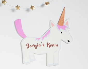 Unicorn door sign, girls bedroom plaque, kids nursery decor, a wooden unicorn sign for children, personalised unicorn wall art, Moobaacluck