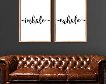 Inhale Exhale Print Set of 2, Yoga Print, Breathe Print Quote, Bedroom Print, Pilates Print, Couple Print Black and White (A0517)