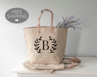 Bridesmaid Gift | Beach Bag Burlap Tote Bag | Personalized Tote Bag | Teacher Gifts | Custom Bridesmaid Gift | Bridal Party Gift | Tote Bag