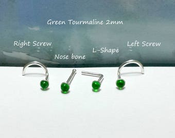 Green Tourmaline 2mm Nose stud, Nose screw, Nose Bone, Tragus, L- Shaped, 925 Sterling Silver Nose Stud,Right and Left Nostril,18 - 24 Gauge