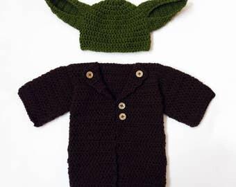 Baby Star Wars Costume, Baby Yoda outfit, Star Wars Baby, Newborn Star Wars Gift, Baby Boy Hat, Yoda Costume, Star Wars gift