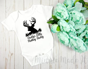 Daddy's Little Hunting Buddy - Baby One piece - Add Baby's Name For Free! Dad Baby Bodysuit - Cute Newborn Baby One Piece