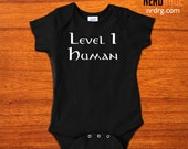 Level 1 Human Baby Onepiece , World of Warcraft Bodysuit, Dungeons and Dragons Snapsuit, Geeky Baby Shower Gift, RPG First Birthday Gift