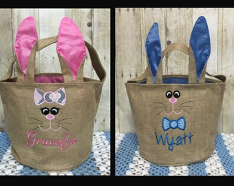 Personalized Burlap Easter Basket, Burlap Bunny Easter Basket, Personalized Easter Basket, Embroidered Easter Basket, Bunny Ear Basket