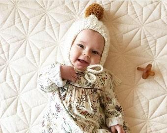 Baby Bonnet, Crochet Pixie Bonnet, Merino & Cashmere Handmade Crochet Pixie Bonnet, Pixie Hat, Crochet Bonnet, Made to order