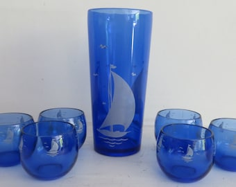 Nautical Etched Blue Glass Pitcher and 6 Tumblers