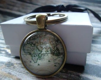 World map keychain etsy antique world map of continents bronze round statement glass domed keychain world map geography sciox Images